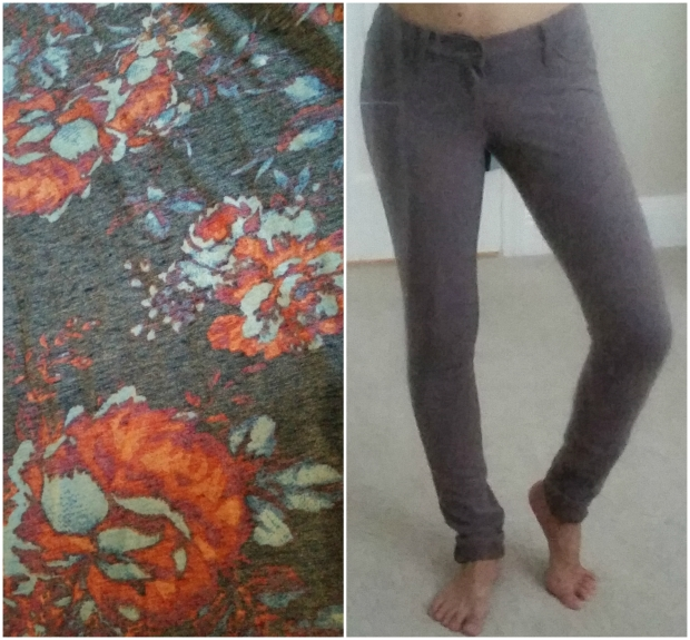 Left: Close-up of the patterned v-neck Right: What the jeggings look like on.